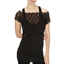 Black Double Layer Lace Top