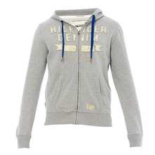 Sweat zippé à capuche Hutton gris chiné