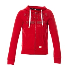 Sweat zippé à capuche  rouge