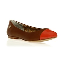 Ballerines en cuir cognac et orange