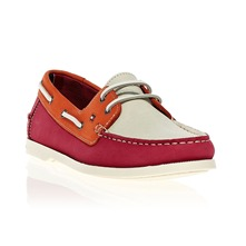 Mocassins Martha en cuir fuschia, beige et orange