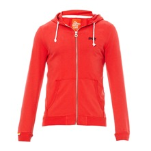 Sweat zippé à capuche Label Lite rouge
