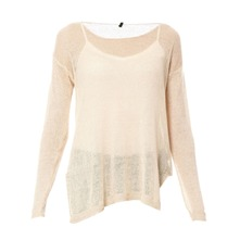 Pull filet en lin beige