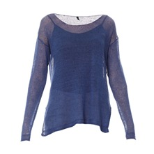 Pull filet en lin bleu