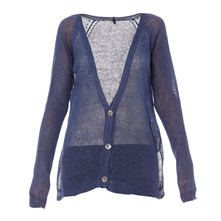 Cardigan en lin bleu
