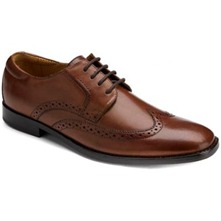 Brown Leather Stitched Wingtip Shoes