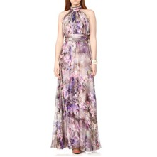 Lilac Halter Print Silk Gown