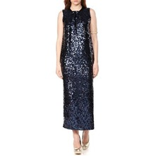 Blue High Neck Sequin Dress