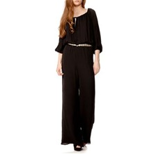 Black Off-Shoulder Silk Jumpsuit