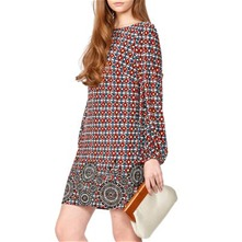 Red/Multi Tile Print Dress