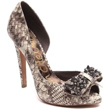 Natural Lorna Snake Print D'Orsay Shoes 11cm Heel