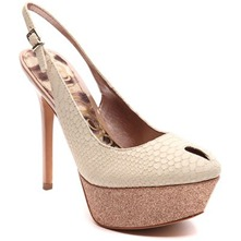 Cream Novato Peep Toe Shoes 14cm Heel