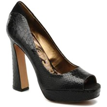 Black Tacoma Peep Toe Shoes 11cm Heel