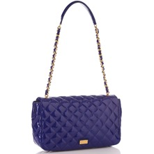 Blue Patent Quilted Shoulder Bag