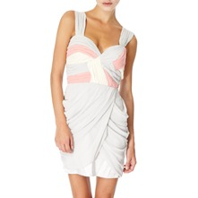 Grey/Pink Grecian Chiffon Drape Dress