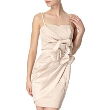 Champagne Side Flower Satin Bandeau Dress