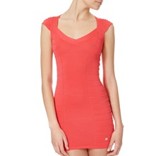 Coral Ribbed Knit Bodycon Dress