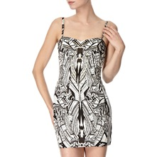 Black/White Graphic Print Dress