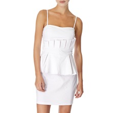 White Pleated Peplum Dress