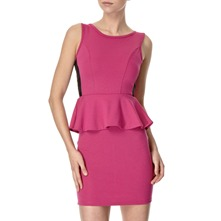 Pink Peplum Ponte Dress