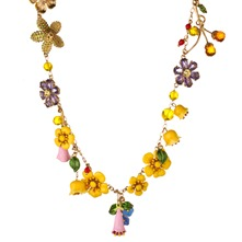 Yellow/Multi Reine Des Pres Long Necklace