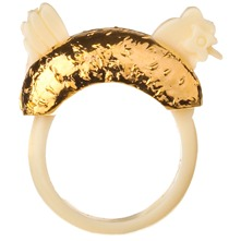 Cream/Gold Cockerel Ring