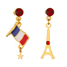 Gold/Red Eiffel Tower/Flag Earrings