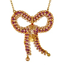 Gold/Purple Medium Bow Paris Necklace