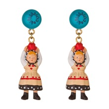 Blue/Black/Cream Figurine Earrings