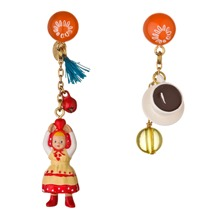 Red/Multi Figurine/Tea Cup Earrings