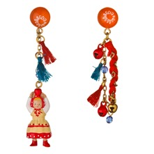 Red/Multi Figurine/Tassel Earrings