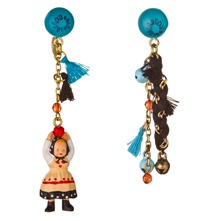Black/Blue Figurine/Tassel Earrings