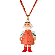 Coral/White Large Figurine Necklace