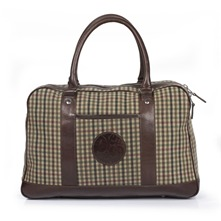 Beige Check Canvas/Leather Holdall