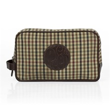 Beige Check Canvas/Leather Wash Bag