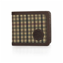 Beige Check Billfold Canvas/Leather Wallet