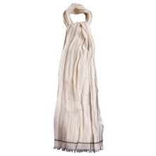 Cream Linen Blend Crinkle Scarf