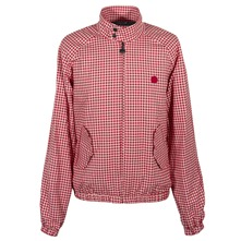 Red Puppytooth Harrington Jacket