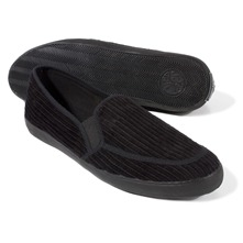Black Corduroy Slip-on Shoes