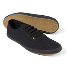 Men footwear: Black Lace-up Canvas Pumps