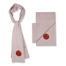 White/Red Polka Dot Cotton Scarf