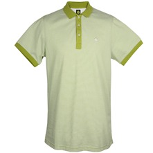 Lime Striped Cotton Polo Shirt