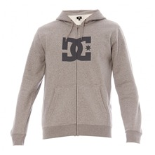 Sweat zippé à capuche Star gris chiné