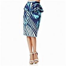 Blue Printed Peplum Skirt