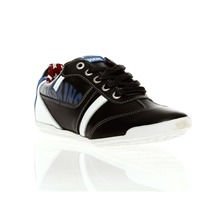 Sneakers Zap en cuir noir, blanc et bleu