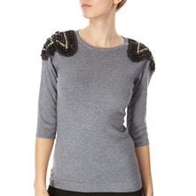 Grey Embellished Cashmere Blend Jumper