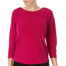 Raspberry Ruched Shoulder Top