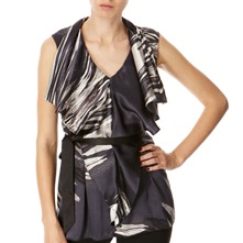 Black/Pewter Belted Silk Top