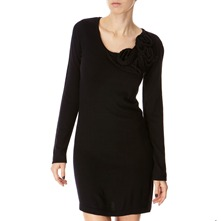 Black Corsage Cashmere Blend Knitted Dress