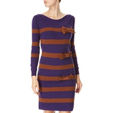 Plum Striped Cashmere Blend Knitted Dress